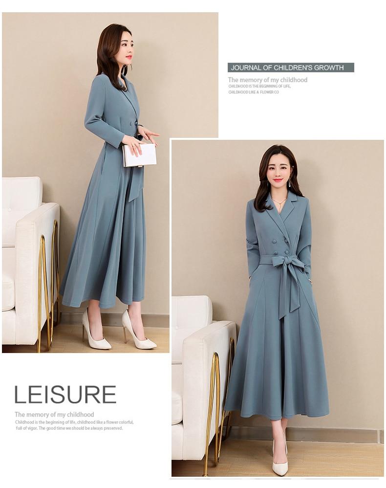 Spring and Autumn 2019 New Women's Dresses Korean Edition Long Sleeve Dresses Overlap Long Popular Temperament with Bottom 125