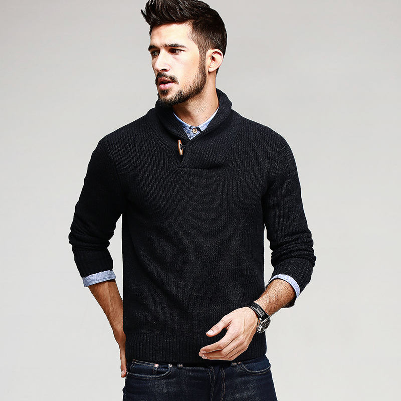 KUEGOU Autumn Mens Sweaters 100% Cotton Knitted Black Color Brand Clothing For Man's Slim Fit Knitwear Male Wear Pullovers 15827