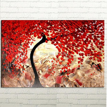 High quality Abstract Red Blossoms Tree palette knife floral impasto oil painting BY HANDMADE