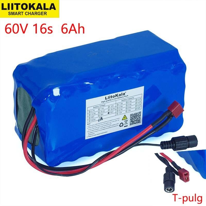 LiitoKala 16S2P 60V 6Ah 18650 Li-ion Battery Pack 67.2V 6000mAh Ebike Electric bicycle Scooter with 20A discharge BMS 1000Watt