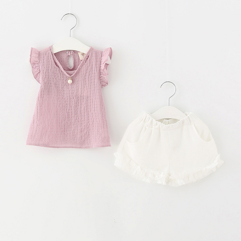 2017 baby summer girl clothing Sets fashion Cotton Cartoon Sleeveless T-shirt Tanktop Vest Skirts Shorts girls clothes suits  new cotton toddler girls clothing sets kids clothes summer cartoon baby girl t shirt overalls suit costume with suspender shorts