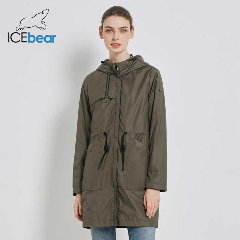 ICEbear 2019 סתיו חדש נשים מעיל רוח ברדס נשים של תעלת מעיל מזדמן נשים של בגדי loose ארוך בגדי GWF19023I