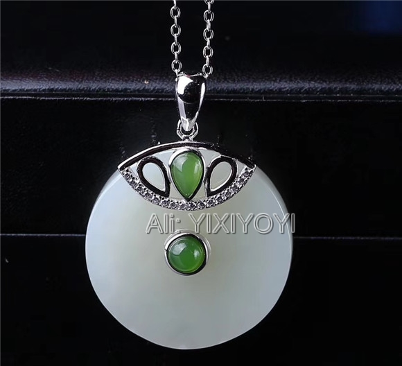 Beautiful 925 Sterling Silver White Green HeTian Jade Round Dangle Lucky Pendant + Chain Necklace Fine Charm Jewelry CertificateBeautiful 925 Sterling Silver White Green HeTian Jade Round Dangle Lucky Pendant + Chain Necklace Fine Charm Jewelry Certificate