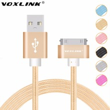 VOXLINK Colorful 1M/2M/3M Nylon Braided Line 30 pin Metal plug Sync Data USB Cable For iphone 4 4S 3GS iPad 1 2 3