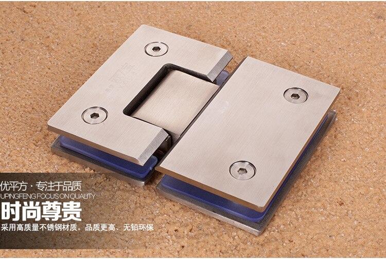 2 pcs/lot 180 degrés en acier inoxydable salle de bains verre pince salle de bains salle de douche balcon porte en verre charnière raccord paire de clip