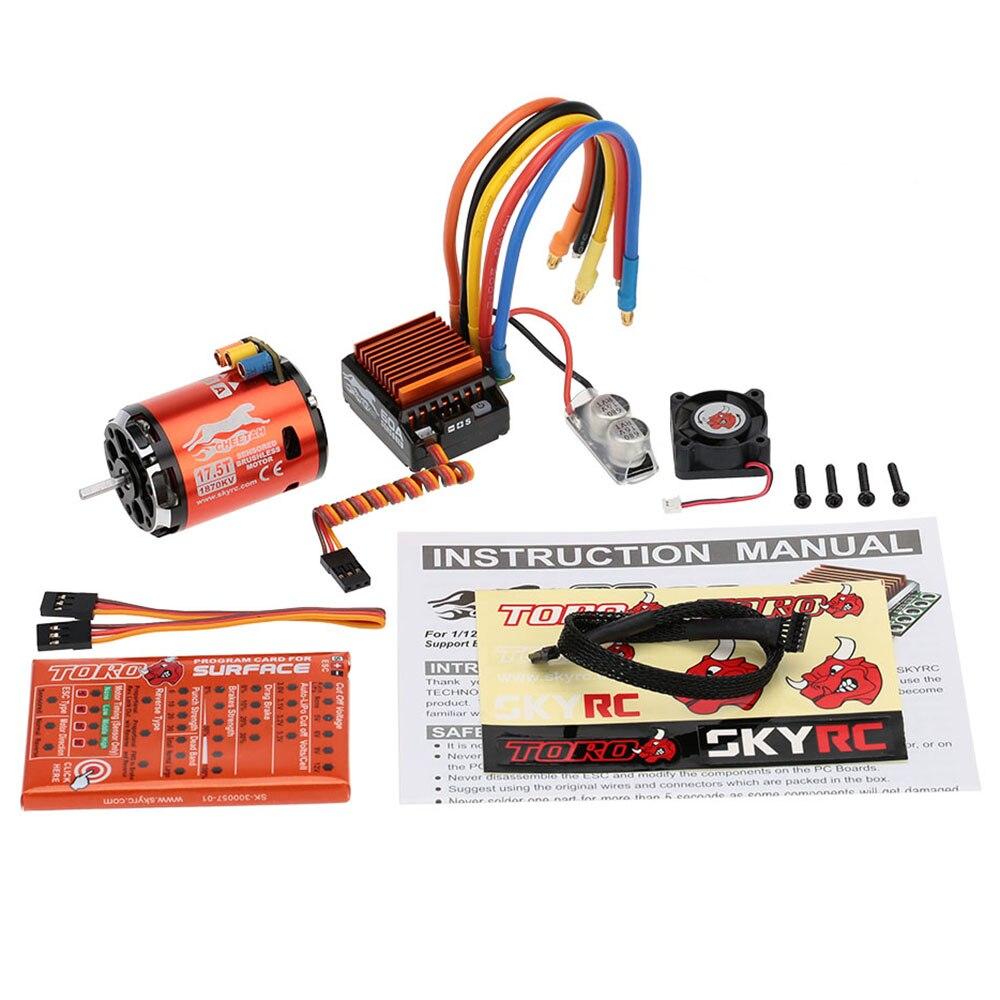 SkyRC 1870KV 17 5T 2P Sensored Brushless Motor CS60 60A Sensored Brushless ESC LED Program Card