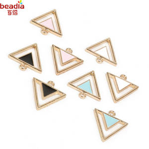 New Product Double Layer Hollow Triangle Shape Super Cute DIY Jewelry Pendant For Women Jewelry Earring Making 30pcs/lot