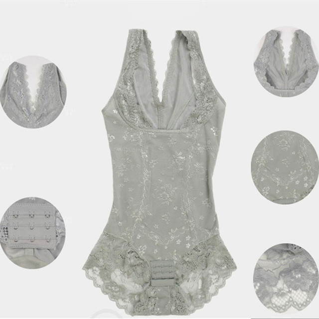 ABYABYGO Womens Body Shapers Lace Slim Underwear Enhanced Waist Trainer Corsets Breasts Under Buckle Shapewear Bodysuit 41-85kg