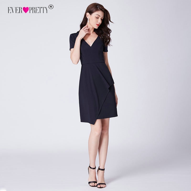 Cocktail Dresses 2020 Navy Blue Classic Short Sleeves V Neck Party Gowns Ever Pretty AS03010 Cheap Above Knee OL Bodycon Dress