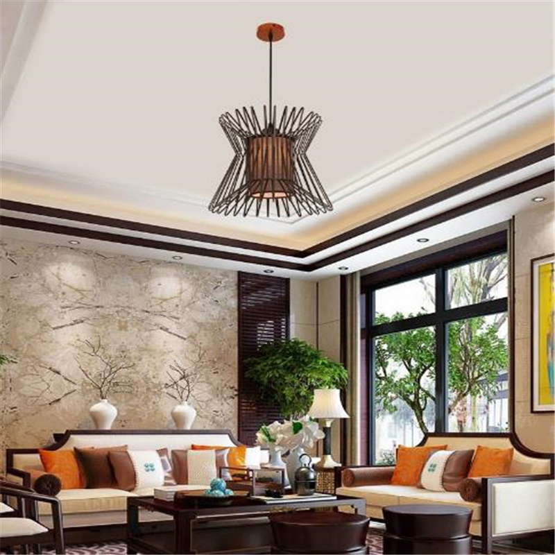 New Chinese Style Birdcage Lamp Modern Simple Chandelier Individuality Creative Living Room Bedroom Light Free Shipping modern crystal chandelier hanging lighting birdcage chandeliers light for living room bedroom dining room restaurant decoration