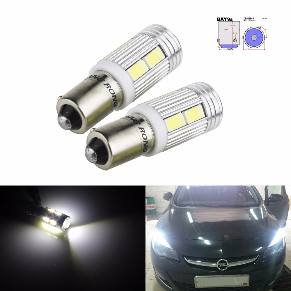 ANGRONG 2x 435 <font><b>H21W</b></font> <font><b>BAY9S</b></font> <font><b>LED</b></font> Bulbs 10SMD 5630 <font><b>LED</b></font> Reverse Light Side Indicator Lamps White 6000K Car Styling image