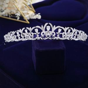 Image 5 - Bavoen Sparkling Zircon Bridal Tiaras Crowns Leaves Bridal Headbands Crystal Wedding Hair Accessories Evening Hair Jewelry