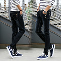 O novo 2016 adolescentes dos homens das calças de brim elásticas skinny jeans calças Pé