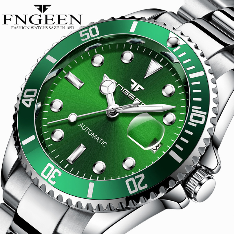 Fngeen Men Sports Watch Automatic Mechanical Watches Male Stainless Steel Waterproof Calendar Man Clock Relojes Masculino Hombre burei automatic mechanical watch men stainless steel analog sapphire waterproof sport watches fashion clock men relojes hombre