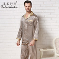 Falaishuka Brand 100% Silk Men Pajamas 2017 New Long-Sleeve Male Pyjama Sets Casual Geometric Turn-Down Collar Sleepwear S8805