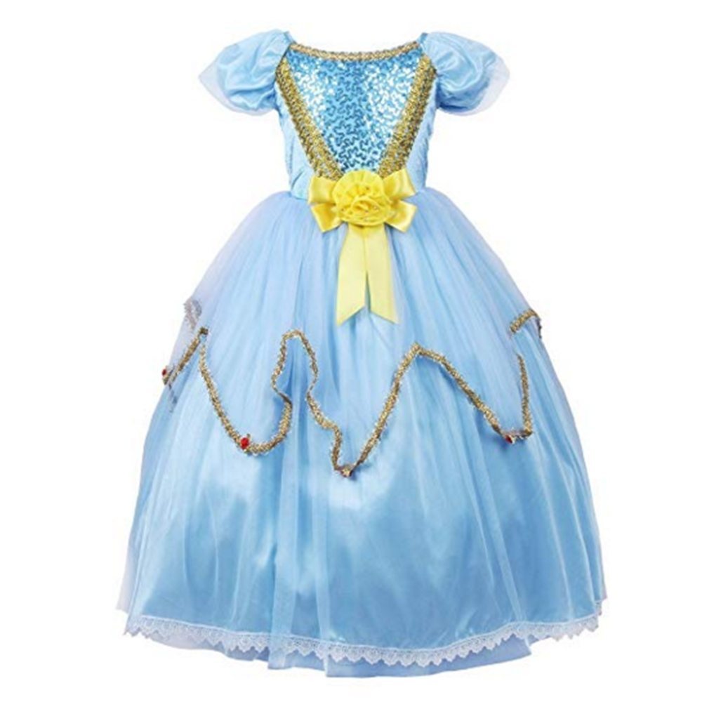 FINDPITAYA Halloween/Make up Party Princess Cinderella Dress Outfits for Girls Lace Trim Puff Sleeve Kids Pageant Dance Dresses