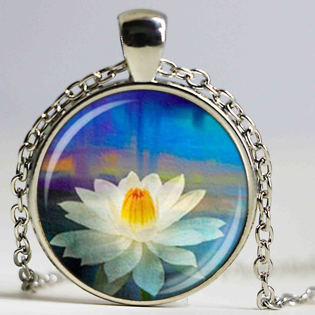 Wholesale glass dome pendant yoga lotus necklace flower charm wholesale glass dome pendant yoga lotus necklace flower charm pendant yoga jewelry glass cabochon necklace diy aloadofball Image collections
