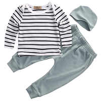 Newest 3PCS Set Newborn Kids Baby Boys Girls Outfits Cotton Stripped O-neck Clothes T-shirt+Pants+Hat Size 0-24M