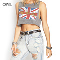 ORMELL Punk Women Summer Fashion Brand Tops Ladies Clothing Onling Grey UK Flag Print Round Neck Crop Tank