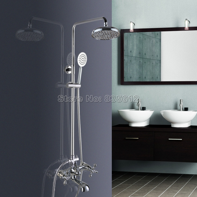 8 inch Round Rainfall Shower Heads Bathroom Shower Faucet Set Wall Mounted Bath Tub Mixer Tap Polished Chrome Finish Wcy327