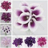 Tons De Roxo Lavanda Buquê de Lírios de Calla Real Toque Calla Buquê de Flores Para Noivas Damas de Honra Corsages Boutonnieres