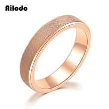 Ailodo Vintage Couple Rings Rose Gold Color Titanium Steel Women Men Simple Fashion Party Wedding Jewelry Bijoux LD020