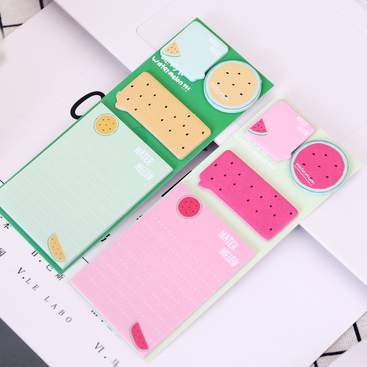 Novelty Watermelon Sliced Memo Pad Sticky Notes Escolar Papelaria School Supply Bookmark Label 2018 pet transparent sticky notes and memo pad self adhesiv memo pad colored post sticker papelaria office school supplies