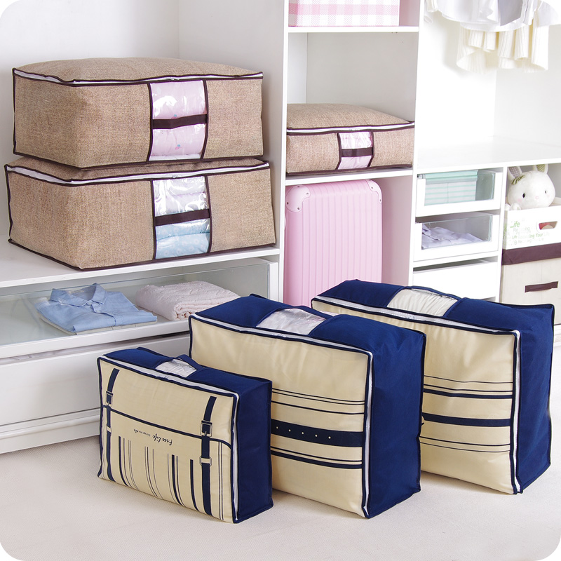 Non Woven Family Save Space Organizador Bed Under Closet Storage Box Clothes Divider Organiser Quilt Bag