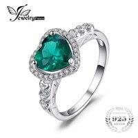 Feelcolor 1 77ct Green Nano Russian Emerald Ring Women Romantic Heart Wedding Set Fine Jewelry 925