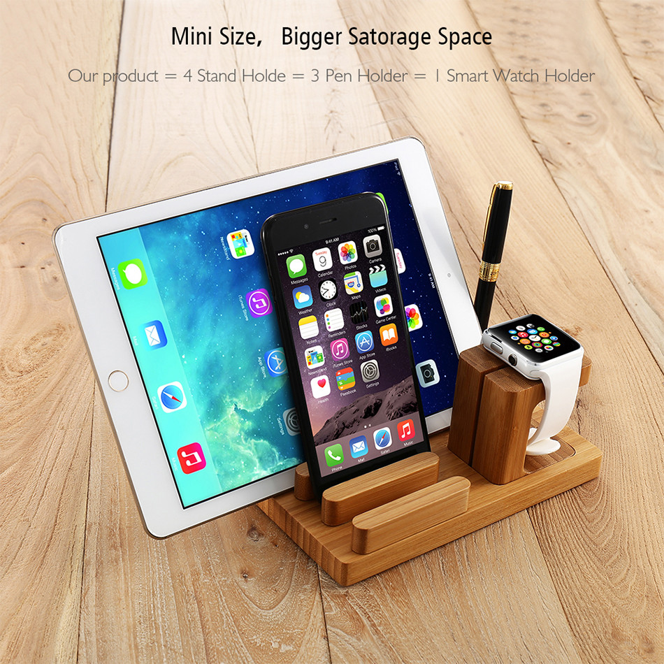 Universal Natural Bamboo Charging Dock Cradle Stand Detachable Multifunction Phone Holder (3)
