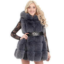 CP Hood Artificial Fox Fur Coats Women Fashion Covered Button Sleeveless Fur Vests Women Casual Pockets Coats Female Ladies CP71(China)