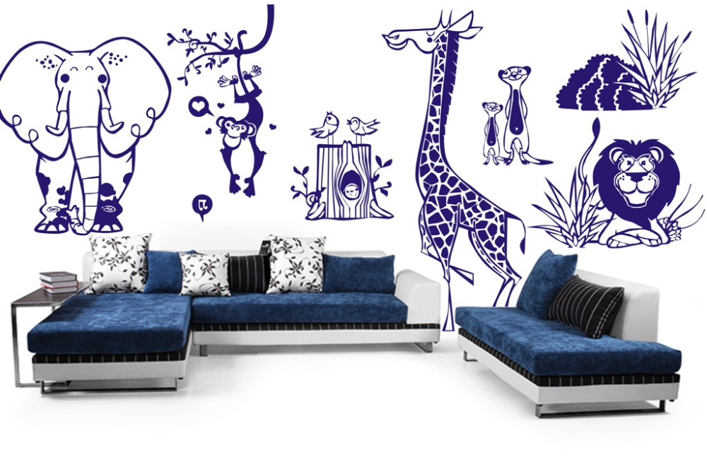 Us 25 87 Off Custom Jungle Animal Zoo Baby Nursery Wall Decals Elephant Lion Stickers For Kids Room Diy Vinyl Mural Vinilos Parede A001 In