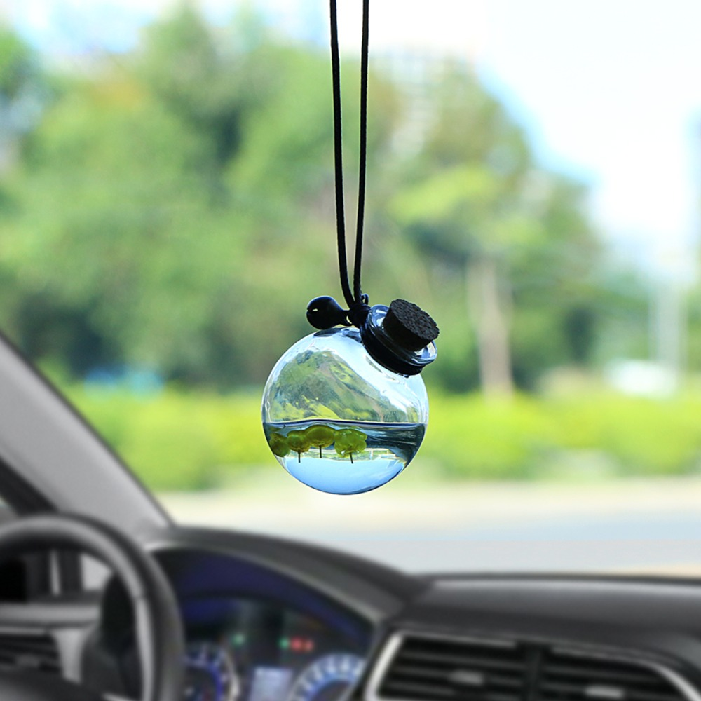 Car Pendant Glass Perfume Empty Hanging Bottle With Flower Auto Interior Decoration Perfume Container With Wood Cap Ornaments
