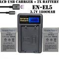 2x Excellent ENEL5 en el5 EN-EL5 battery pack +LCD usb charger for NIKON coolpix P510 P530 S10 P5 P4 3700 4200 5200 5900 camera