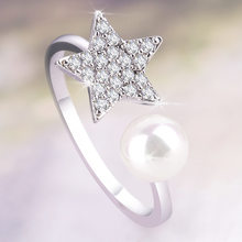 FEIWEINI Pentagon Star with Drilled Pearl Rings Fashion Rings European and American Luxury Rings(China)