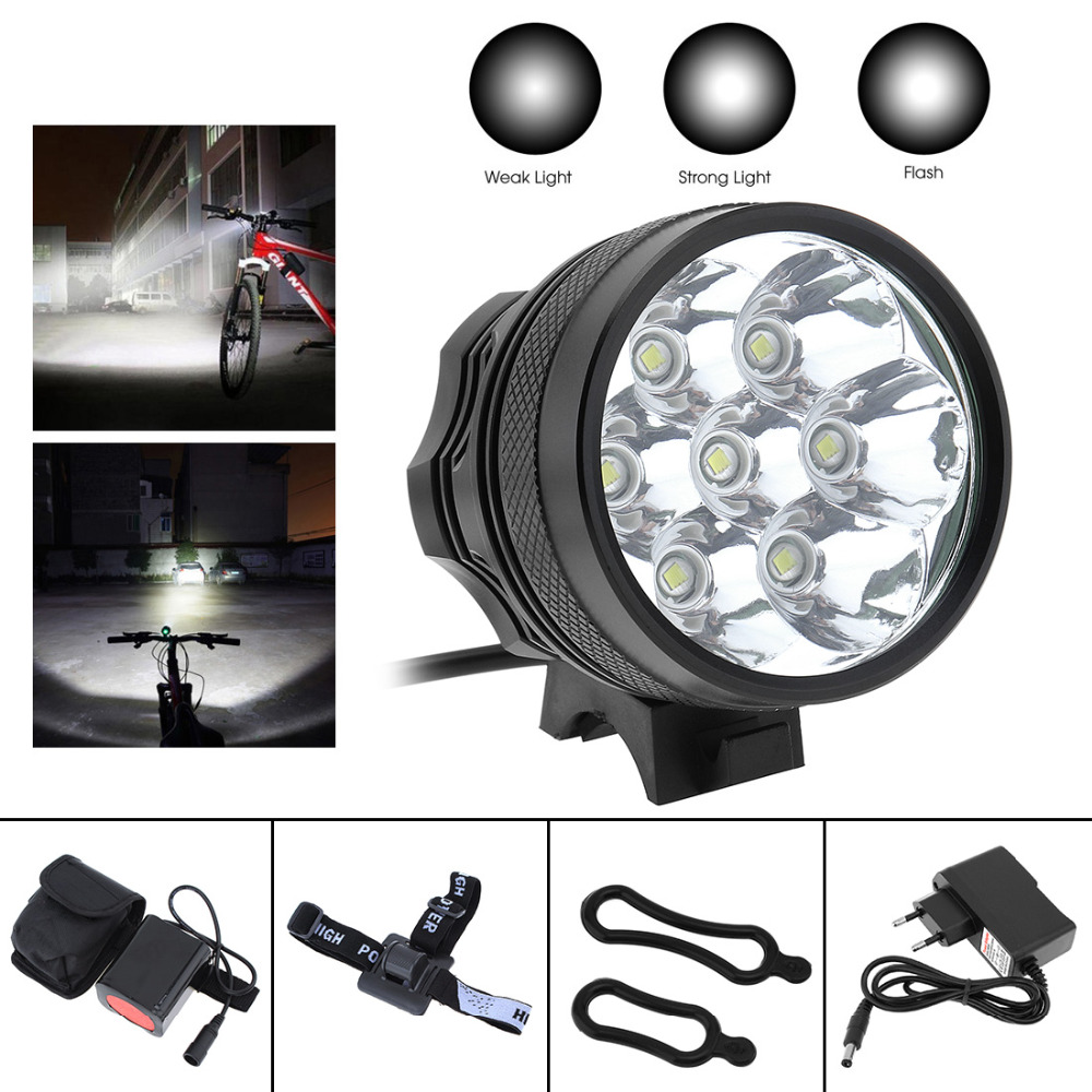 8400LM 3 Modes Bike Cycle 7 x XM-L2 T6 LED Front Head Headlight Bicycle Light Torch + 8.4V 6000mAh Battery Pack