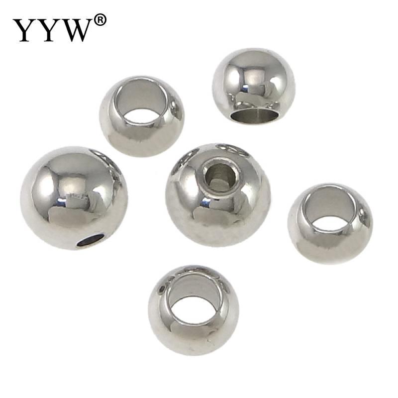 Бисер из нержавеющей стали для ювелирных изделий, круглые шарики с большим отверстием 2/3/4/5/6/8/10/12 мм, 1 партия