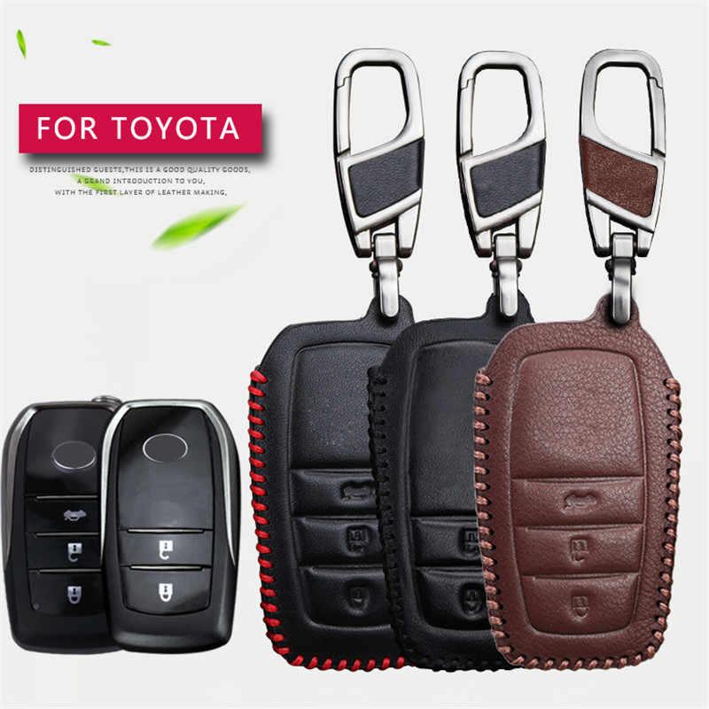 Дистанционный автомобильный чехол для ключей для Toyota Chr C-hr Land Cruiser 200 Avensis Auris Corolla из натуральной кожи 2 и 3 кнопки корпус-брелок для ключей
