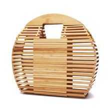 Simple Straw Round Women shoulder bag Bamboo Handmade Woven Bohemian Handbag Summer Beach Lady wicker rattan Large