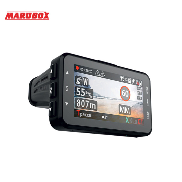 Marubox M610R car dvr radar detector gps 3 in 1 HD1296P 170 Degree Angle Russian Language Video Recorder logger free shipping