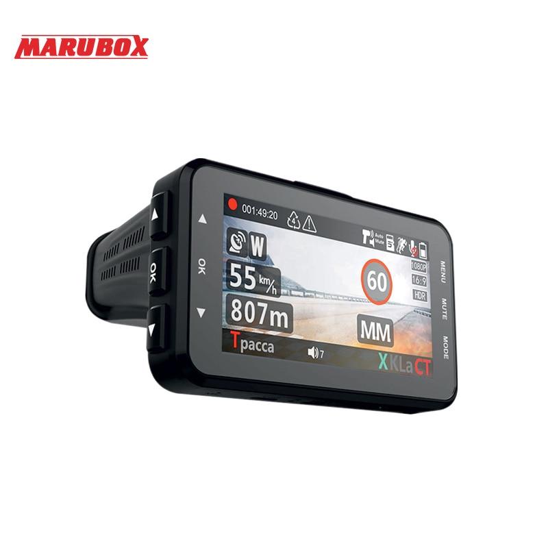 Marubox M610R voiture dvr détecteur de radar gps 3 dans 1 HD1296P 170 Degrés Angle Russe Langue Vidéo Enregistreur enregistreur de livraison gratuite