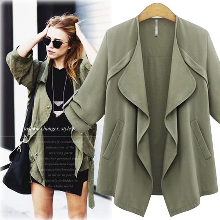 Online Shop 2015 New Arrival Woman Autumn Army Green Waterfall ...