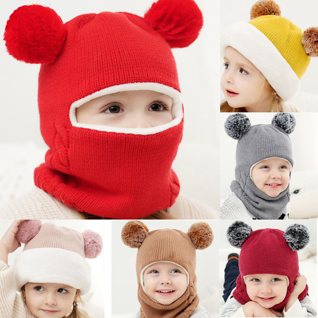 Kids Winter Hats Ears Girls Boys Children Warm Caps Scarf Set Baby Bonnet Enfant Knitted Cute Hat for Girl Boy 1D18 5