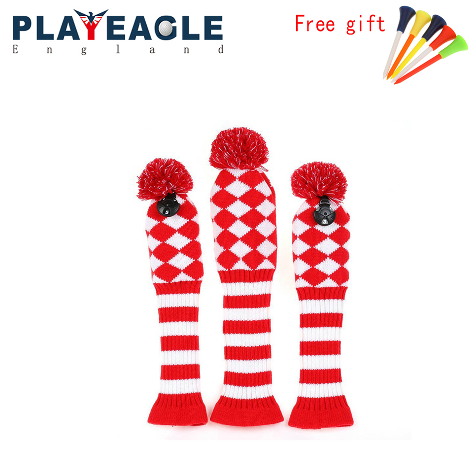 3psc/set Abstract Pattern Knit Golf Club Head Cover for Driver Wood ...