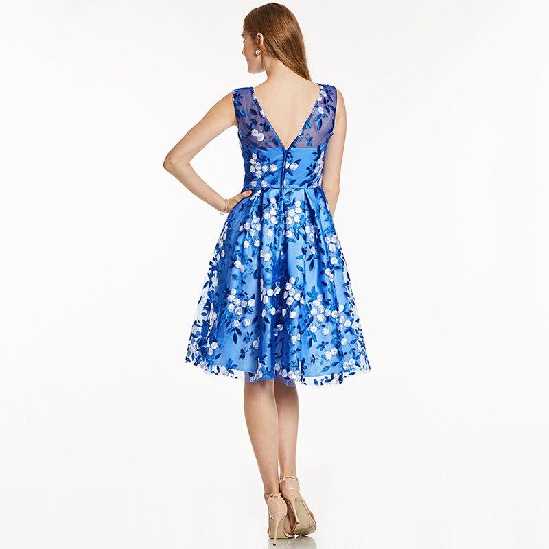 Tanpell kratka kućna haljina kraljevska plava kašičica rukava - Haljina za posebne prigode - Foto 3