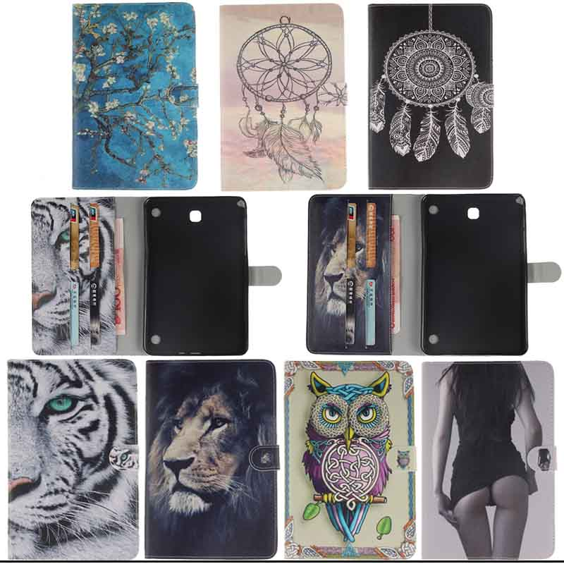 For Samsung Galaxy Tab A 8.0 T350 T351 SM-T355 case cover 8 inch tablet flower Paint PU Leather Stand Protective bags Y4D40D