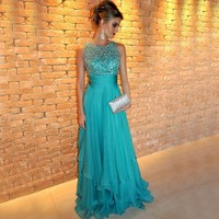 A Line Elegant O Neck Chiffon Long Prom Evening Dresses 2017 Gown Beaded Embroidery Turquoise Evening Dress Vestido De Fiesta