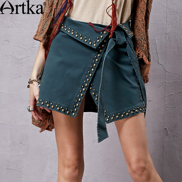 Artka Women's Summer Vintage Solid Color Cotton Skirt All-match Elastic Mini Skirt With Rivet Decoration QA15054Q
