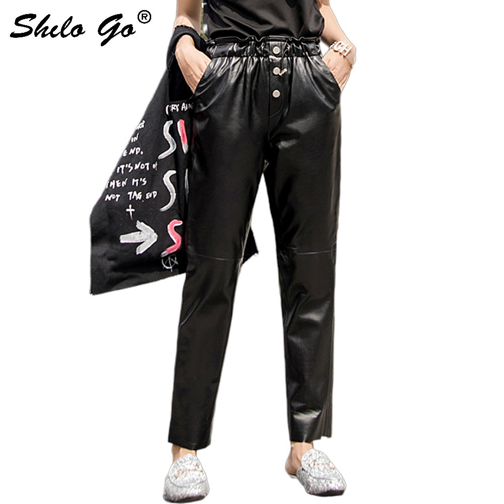 Streetwear Leather   Pants   Women Single Button Ruffles Elastic High Waist Sheepskin Genuine Leather Harem   Pants   Casual   Capris