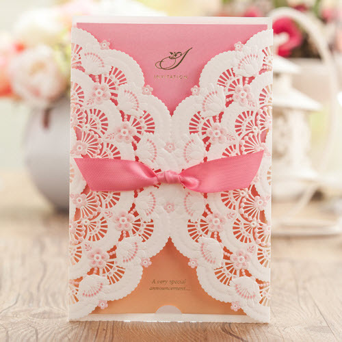 classic pink small flowers wedding invitations cards with envelopes
